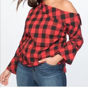 Eloquii Plus Size Buffalo Plaid Top